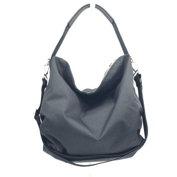 Borbonese borsa in tessuto a spalla con la tracolla da portare di traverso. colore nero